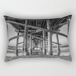 Morning under Newport Pier in Black and White Rectangular Pillow