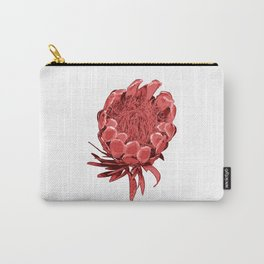 Australian Native Floral Illustration - Beautiful Protea Flower Carry-All Pouch