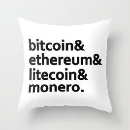 bitcoin & ethereum & litecoin & monero. Throw Pillow