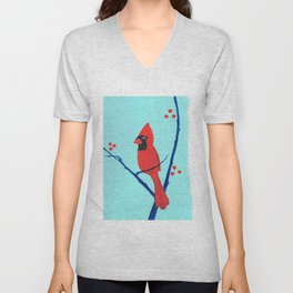 Cardinal Winter Berries Unisex V-Neck