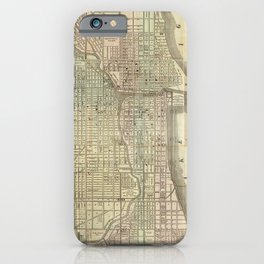 Vintage Map of Chicago (1857) iPhone Case