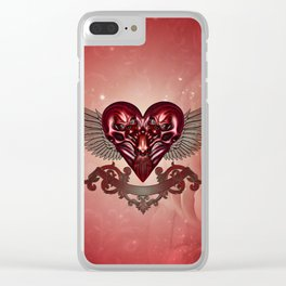 Awesome heart with skulls Clear iPhone Case