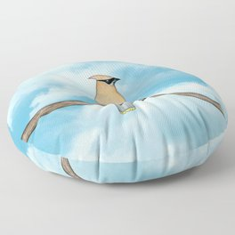 cedar waxwing and blue sky Floor Pillow
