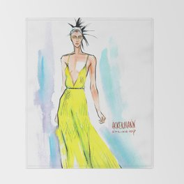 Fashion #59: Woman in a long yellow dress Throw Blanket