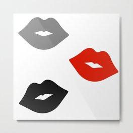Retro Lips - Red, Grey and Black Pattern Metal Print