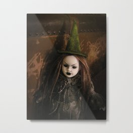 Creepy Gothic Halloween Mourning Witch Doll Metal Print