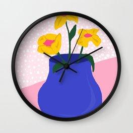 Blue Flower Pot Wall Clock
