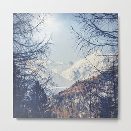 View of Snow Capped Mountains - Winter Peaks Metal Print