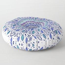 Indigo Flowered Mandala Floor Pillow