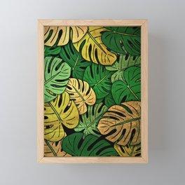 Grunge Monstera Leaves Framed Mini Art Print