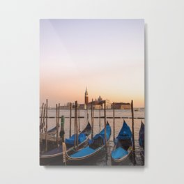 Blue Gondolas in a Pastel Sky Venice sunset | Venice travel photography,  floating gondolas   Metal Print