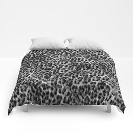 Cheetah Fur Texture - Black and White Comforters
