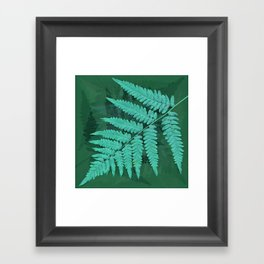 From the forest - turquoise on green Framed Art Print
