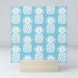 Retro Mid Century Modern Pineapple Pattern 731 Sky Blue Mini Art Print