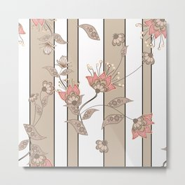 Retro . Floral pattern on a beige striped background . Metal Print