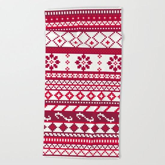 Red Fair Isle Christmas Pattern Beach Towel