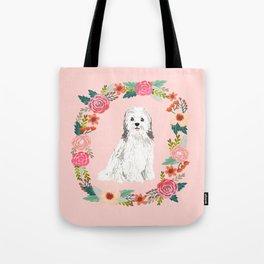 havanese floral wreath spring dog breed pet portrait gifts Tote Bag
