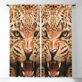 Mid Century Leopard in Tropical Forest Blackout Curtain