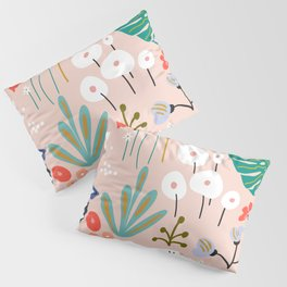 Mid-Century Modern Floral and Leaves Print Pillow Sham