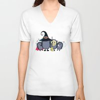 animal crew V-neck T-shirts featuring Halloween party crew by mangulica illustrations