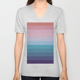 Cotton Candy Ice Cream- Blue and Pink Colorful Abstract Stripes Unisex V-Neck
