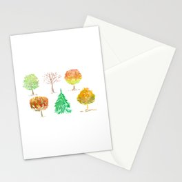 Colorful Cute Trees Watercolor Painting Illustration Stationery Cards