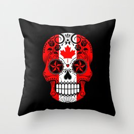 Sugar Skull with Roses and Flag of Canada Throw Pillow