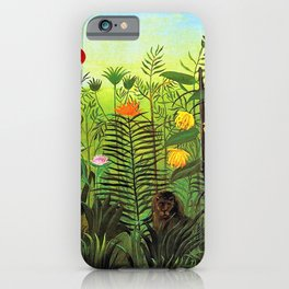 Exotic Jungle Landscape with Lion and Lioness by Henri Rousseau iPhone Case