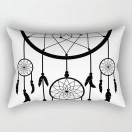 Black Dream Catcher - Native American Indian Art Rectangular Pillow