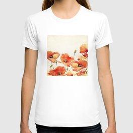 Poppy Flower Meadow- Floral Summer lllustration T-shirt
