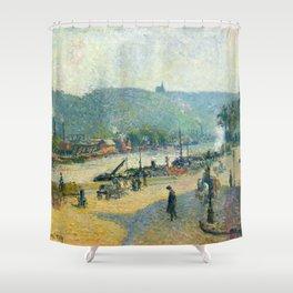 "Camille Pissarro ""Place Lafayette, Rouen""(""The Quays at Rouen"") Shower Curtain"