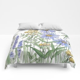 Asters and Wild Flowers Botanical Nature Floral Comforters