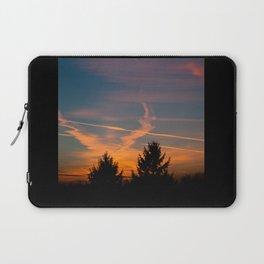 Evening aeroplane contrails sunset Laptop Sleeve