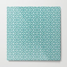 Teal and White Greek Key Pattern Metal Print