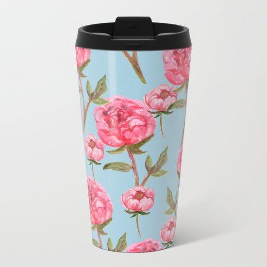 Pink Peonies On Blue Background Metal Travel Mug