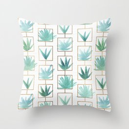 Mid Century Succulents Throw Pillow
