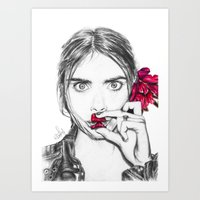 cara Art Prints featuring CARA  by Roxanne Jade Dentry