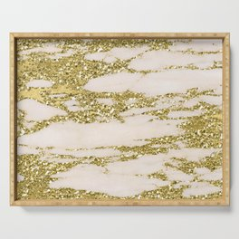 Marble - Gold Marble Glittery Light Pink and Yellow Gold Serving Tray