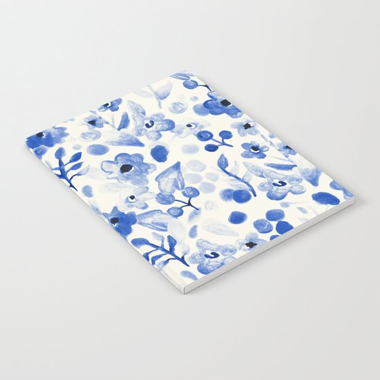 Blue China - Watercolor Floral Notebook