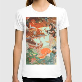 colorful eastern dragon mask fox brush abstract cranes digital art painting cats fish carp thread birds horns scales kimono baby water scrolls lantern Chinese characters  T-shirt