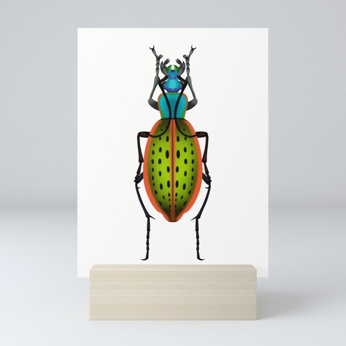 Green Dot Beetle Mini Art Print