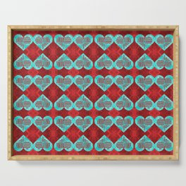 Abstract Turquoise and Bright Red Diamond Hearts Serving Tray