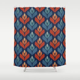 Blue & Red Retro Trefoil Pattern Shower Curtain
