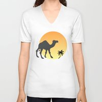camel V-neck T-shirts featuring Camel by Geni