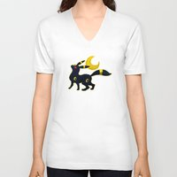 umbreon V-neck T-shirts featuring Umbreon with moon by Criminal Crow