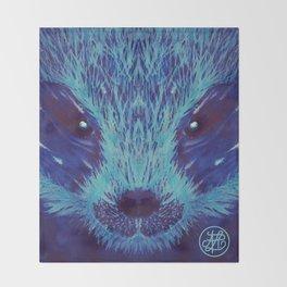 Blue Honey Badger Throw Blanket
