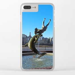 Girl With A Dolphin Clear iPhone Case