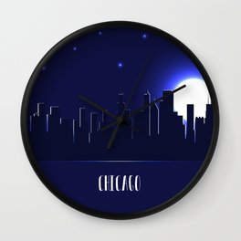 Chicago skyline silhouette at night Wall Clock