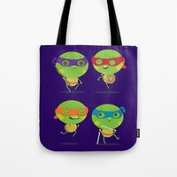 turtles Tote Bags featuring Turtles by Maria Jose Da Luz