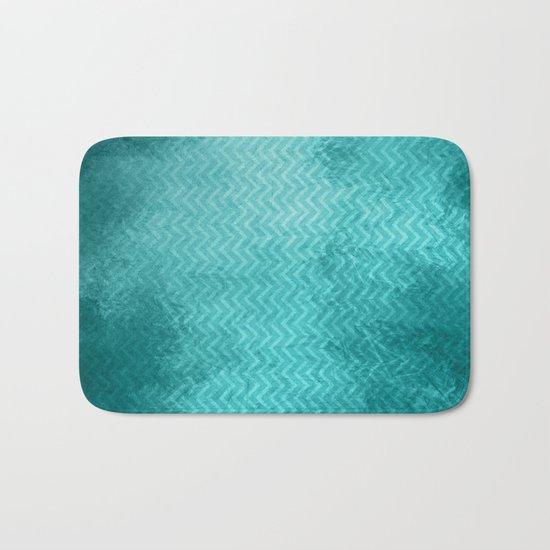 Textured limpet blue chevron pattern Bath Mat